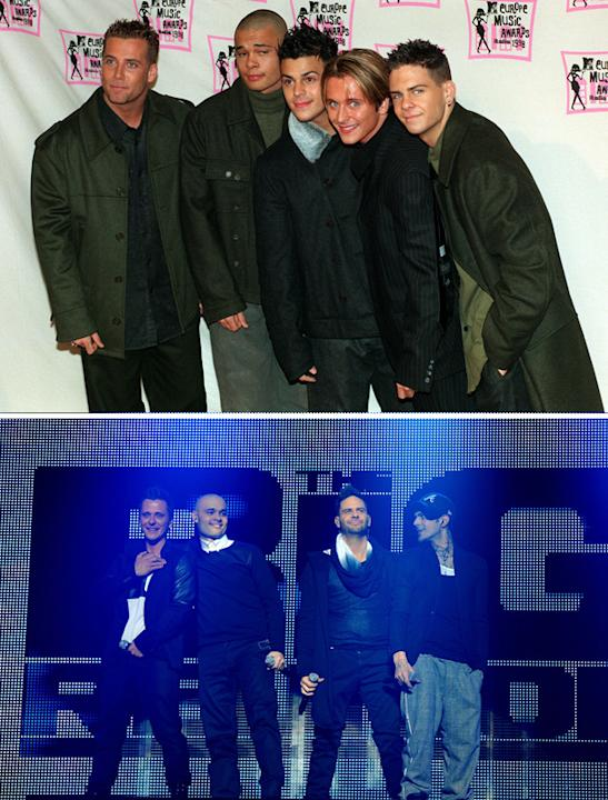 Big reunion bands then and now: Five's original line up featured five (funnily enough) loud lads [top] Now, the band only has four members after Jay pulled out of the Big Reunion TV show and gig [belo
