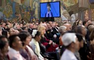 The audience watches as Nobel peace prize laureate, Myanmar opposition leader Aung San Suu Kyi gives her Nobel lecture in Oslo. Suu Kyi pledged to keep up her struggle for democracy as she finally delivered her Nobel Peace Prize speech, 21 years after winning the award while under house arrest