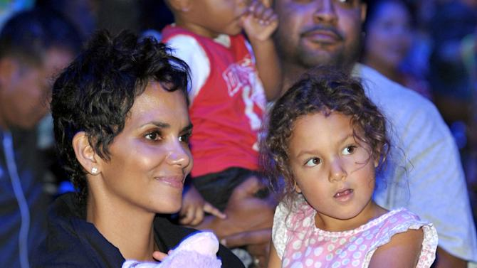 IMAGE DISTRIBUTED FOR GABBA CA DABRA - Halle Berry, left, and daughter Nahla Aubry attend attend Yo Gabba Gabba! Live!: Get The Sillies Out! 50+ city tour kick-off performance on Thanksgiving weekend at Nokia Theatre L.A. Live on Friday Nov. 23, 2012 in Los Angeles. (Photo by John Shearer/Invision for GabbaCaDabra, LLC./AP Images)