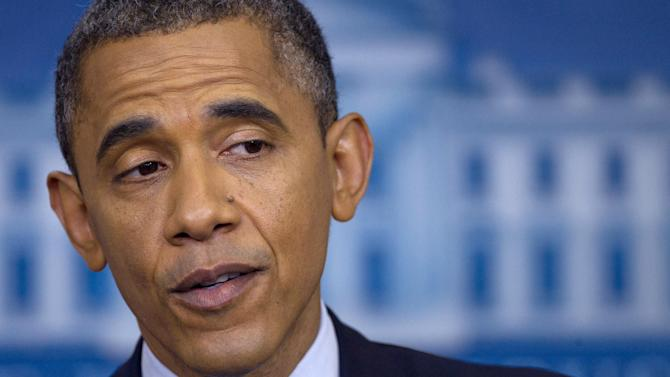In this June 8, 2012, file photo, President Barack Obama talks about the economy in the briefing room of the White House in Washington. Republican groups are heavily outspending their cross-party counterparts on television advertising in the early stages of the fall campaigns for the White House and control of the Senate, tempering Obama's financial advantage over Mitt Romney and sparking blunt expressions of concern from leading congressional Democrats. (AP Photo/Carolyn Kaster)