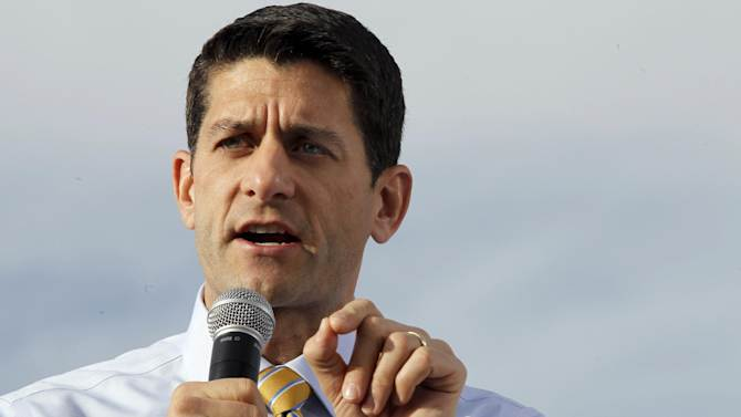 """FILE - In this Nov. 5, 2012, file photo then-Republican vice presidential candidate, Rep. Paul Ryan, R-Wis., gestures as he speaks during a campaign event at Johnson's Corner in Johnstown, Colo. Ryan acknowledges that he was shocked when he and presidential nominee Mitt Romney lost last week's election. Ryan says President Barack Obama won fair and square. In an interview with ABC News being aired Tuesday, Ryan says he and Romney thought they had a very good chance of winning Nov. 6. He cites polling, other data, and what he calls """"the smart people who watch this stuff"""" for his optimistic view election night. (AP Photo/Mary Altaffer, File)"""