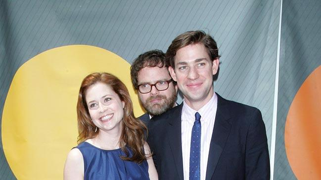Jenna Fischer , Rainn Wilson and John Krasinski at the NBC 2007 Upfronts in New York City. - May 14, 2007