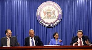 Saint Vincent and the Grenadines' Prime Minister Gonsalves addresses a media conference in St Ann's