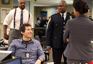 Andy Samberg, Terry Crews, Andre Braugher, Melissa Fumero | Photo Credits: Eddy Chen/Fox