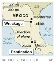 Map locates crash of plane believed to be carrying Mexican-American music superstar