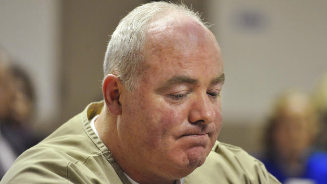 Michael Skakel reacts as parole is denied during a hearing at McDougall-Walker Correctional Institution in Suffield, Conn., Wednesday, Oct. 24, 2012. Parole officials denied Skakel's first bid for parole since he was convicted a decade ago of killing his neighbor in 1975. Skakel is serving 20 years to life for fatally beating Martha Moxley with a golf club in Greenwich when they were 15-year-old neighbors. (AP Photo/Jessica Hill, Pool)