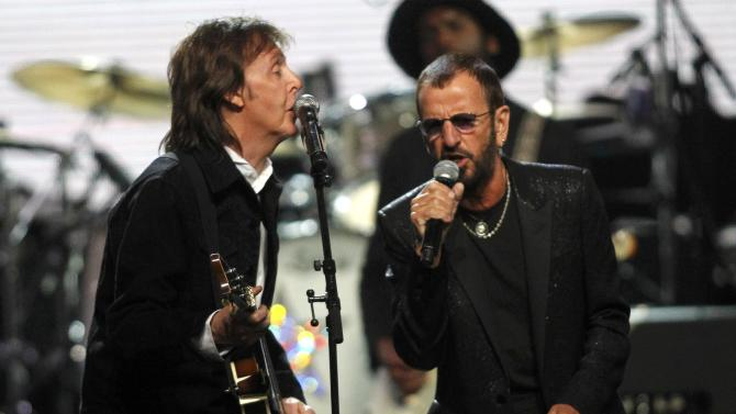 McCartney and Starr perform together during the 2015 Rock and Roll Hall of Fame Induction Ceremony in Cleveland