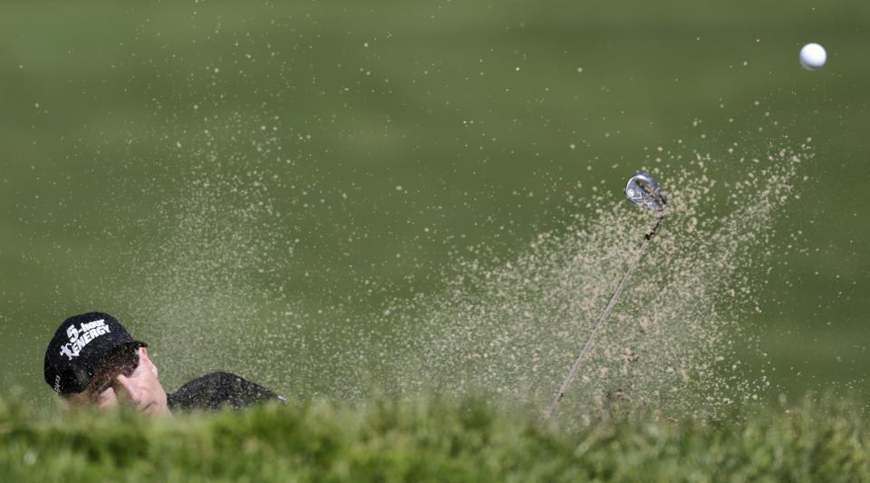Jim Furyk hits out of a bunker on the 16th hole during the second round of the U.S. Open Championship golf tournament Friday, June 15, 2012, at The Olympic Club in San Francisco. (AP Photo/Eric Gay)