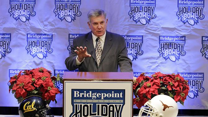 Texas coach Mack Brown speaks during a news conference for the Dec. 28 Holiday Bowl NCAA college football game, Wednesday, Dec. 7, 2011, in San Diego. Texas faces California in the game. (AP Photo/Gregory Bull)