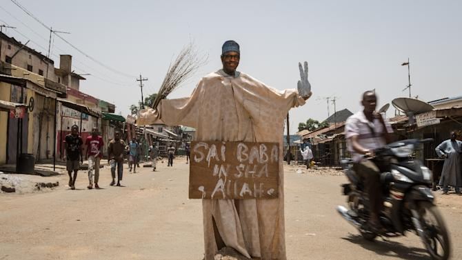 A cutout of Muhammadu Buhari, Nigeria's former military ruler and challenger to incumbent Goodluck Jonathan for the presidency, stands in an intersection in the northwestern city of Kaduna