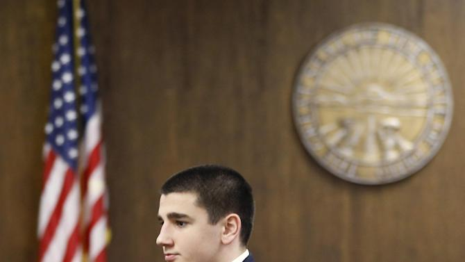 Trent Mays, 17, arrives for the start of his trial in juvenile court, where he and Ma'lik Richmond, 16, face rape charges on Wednesday, March 13, 2013 in Steubenville, Ohio.  Mays and Richmond are accused of raping a 16-year-old West Virginia girl last August 2012  (AP Photo/Keith Srakocic, Pool)