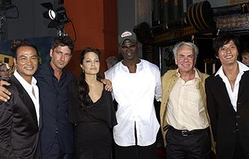 Simon Yam , Gerard Butler , Angelina Jolie , Djimon Hounsou , Jan De Bont and Terence Yin at the LA premiere of Paramount's Lara Croft Tomb Raider: The Cradle of Life