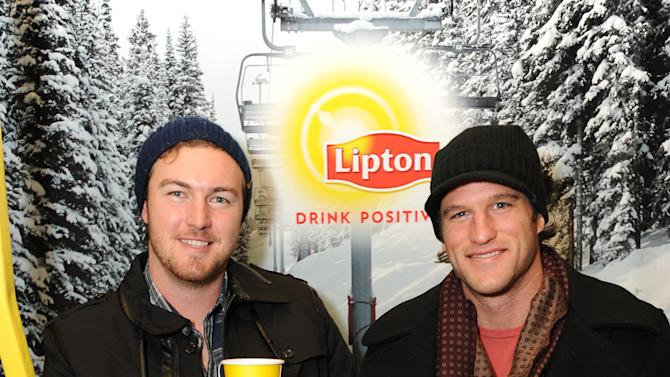 """IMAGE DISTRIBUTED FOR LIPTON: MLB player Philip Hughes (left) 'strikes"""" a pose with friend Billy Crafton during a tea-break at the Lipton Uplift Lounge amidst the hustle and bustle of  Sundance on Friday Jan. 18, 2013, in Park City, UT.  (Photo by Jordan Strauss/Invision for Lipton/AP Images)"""