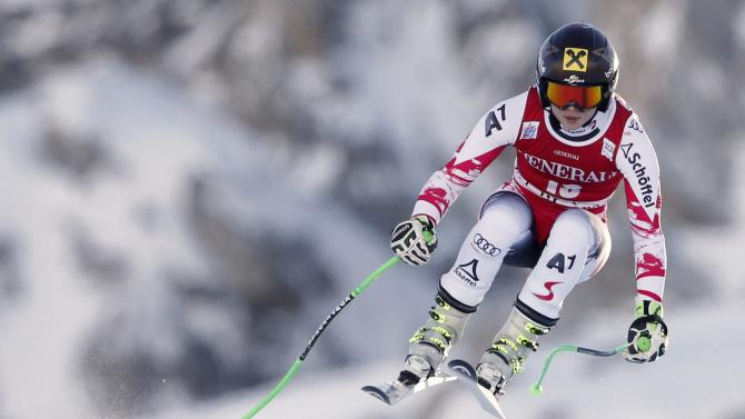 Austria's Fenninger skis during the women's World Cup Super G skiing race in Val d'Isere