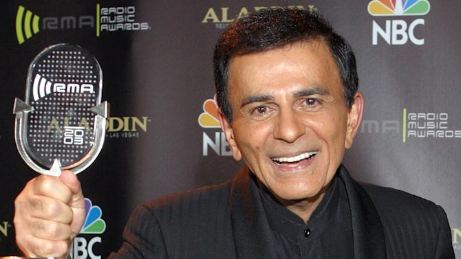 FILE - In this Oct. 27, 2003 file photo, Casey Kasem poses for photographers after receiving the Radio Icon award during The 2003 Radio Music Awards in Las Vegas. Attorneys for Kasem's wife and one of his adult daughters told a Los Angeles judge on Friday, Dec. 20, 2013, that they have reached an agreement that will not require a court conservatorship. (AP Photo/Eric Jamison, File)