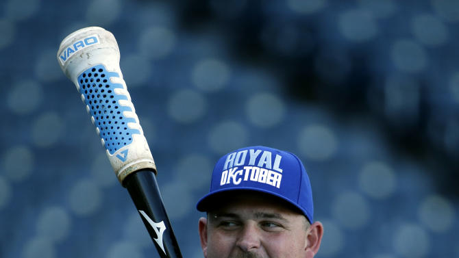 Kansas City Royals' Billy Butler waits to bat during baseball practice Monday, Oct. 20, 2014, in Kansas City, Mo. The Royals will host the San Francisco Giants in Game 1 of the World Series on Oct. 21. (AP Photo/Charlie Riedel)