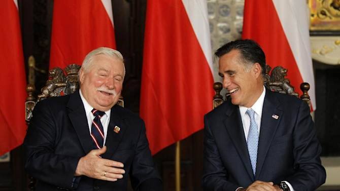FILE - In this July 30, 2012 file photo, Republican presidential candidate and former Massachusetts Gov. Mitt Romney meets with Poland's Former President Lech Walesa in Gdansk, Poland.  (AP Photo/Charles Dharapak, File)