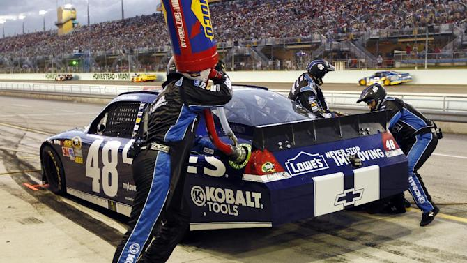 Jimmie Johnson returns to the pit after a lugnut was not installed during the NASCAR Sprint Cup Series auto race at Homestead-Miami Speedway, Sunday, Nov. 18, 2012 in Homestead, Fla. (AP Photo/J Pat Carter)