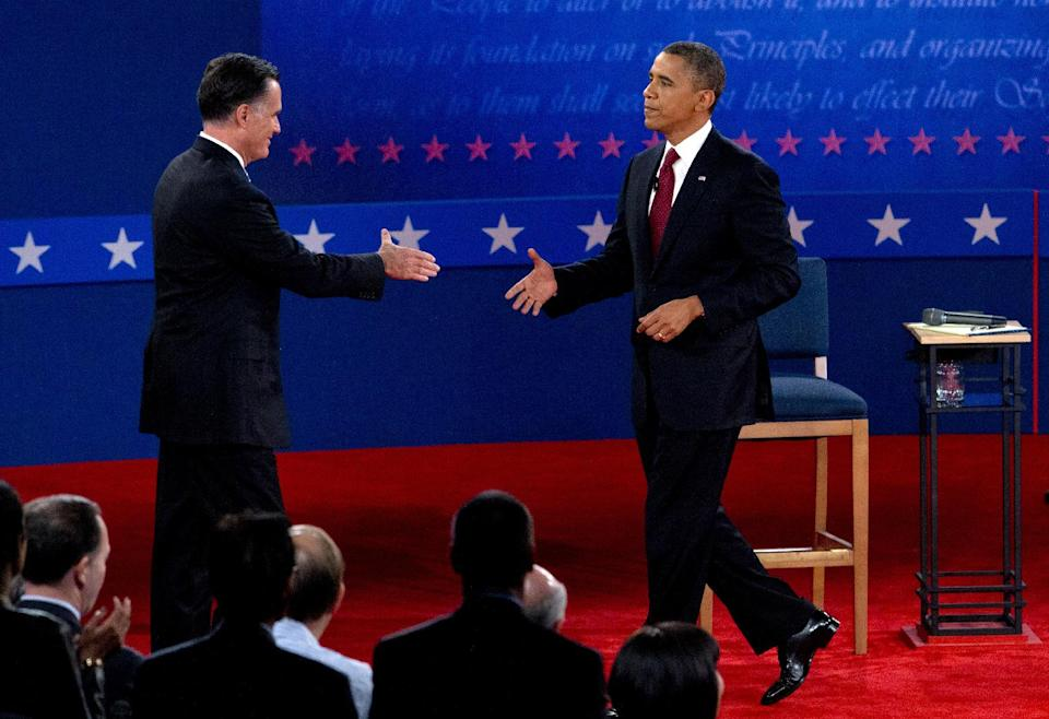 President Barack Obama and Republican presidential candidate, former Massachusetts Gov. Mitt Romney, shake hands after the second presidential debate, Tuesday, Oct. 16, 2012, at Hofstra University in Hempstead, N.Y. (AP Photo/Carolyn Kaster)