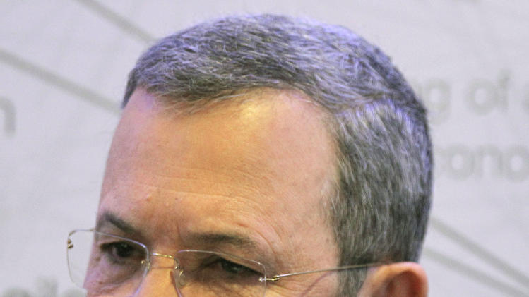 Israel's Defense Minister Ehud Barak gestures as he speaks during a session at the World Economic Forum in Davos, Switzerland, Friday, Jan. 27, 2012. The meeting lasts until Jan. 29. (AP Photo/Michel Euler)