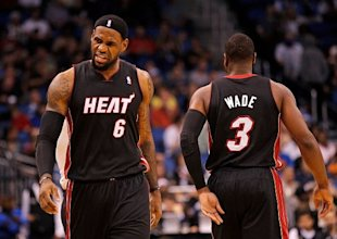 b8183a8d1dc LeBron James #6 and Dwyane Wade #3 of the Miami Heat