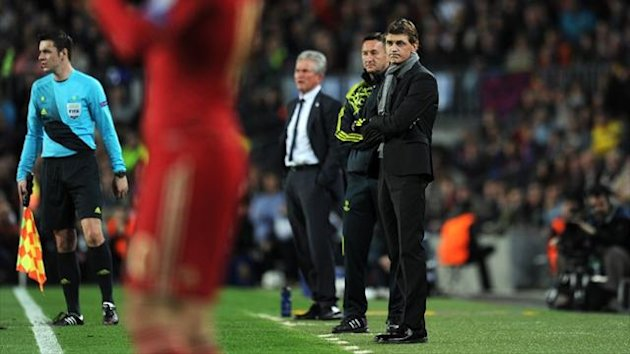 Barcelona coach Tito Vilanova looks on during the Champions League semi-final second leg against Bayern Munich at the Camp Nou (AFP)