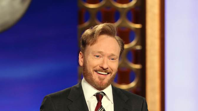 """FILE - In this Nov. 9, 2010 file publicity image originally released by Team Coco, Conan O'Brien, host of the new """"Conan"""" show on TBS speaks during his monologue. (AP Photo/Team Coco, Meghan Sinclair, file)"""