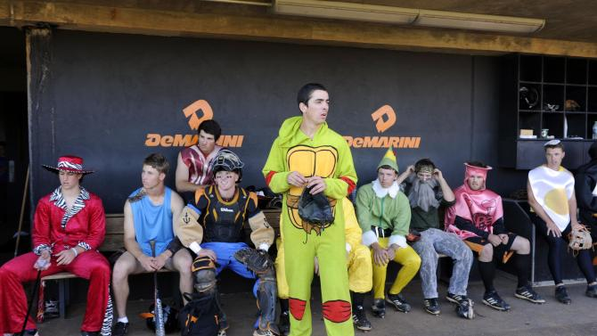 Tennessee baseball pitcher Andy Cox and his teammates sit in the dugou4 during a team scrimmage at Lindsey Nelson Stadium in Knoxville, Tenn., Thursday, Oct. 30, 2014. (AP Photo/Knoxville News Sentinel, Saul Young)