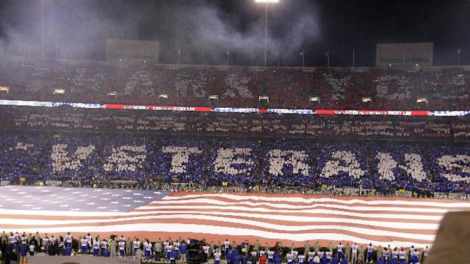 Fans cheer during the during the opening ceremony before an NFL football game between the Buffalo Bills and the Miami Dolphins, Thursday, Nov. 15, 2012, in Orchard Park, N.Y. (AP Photo/Gary Wiepert)