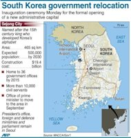 <p>Graphic map of South Korea locating its new administrative capital Sejong city.</p>