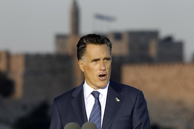 Republican presidential candidate and former Massachusetts Gov. Mitt Romney delivers a speech in Jerusalem, Sunday, July 29, 2012.