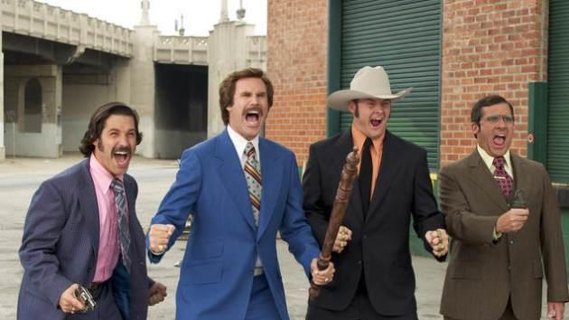 """Will Ferrell and Steve Carell in """"Anchorman: The Legend of Ron Burgandy""""  -- Dreamworks"""