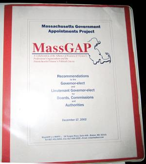 "This photo released Wednesday, Oct. 17, 2012 by the Massachusetts Women's Political Caucus shows the cover of a binder produced in 2002 by the Massachusetts Government Appointments Project, listing names of potential female candidates for high-level positions in the state. During the Tuesday night debate against President Barack Obama, Republican presidential candidate, former Massachusetts Gov. Mitt Romney, referred to the MassGAP notebook in saying that he was sent ""binders full of women,"" a comment which touched off a wave of social media parodies.  (AP Photo/Massachusetts Women's Political Caucus)"