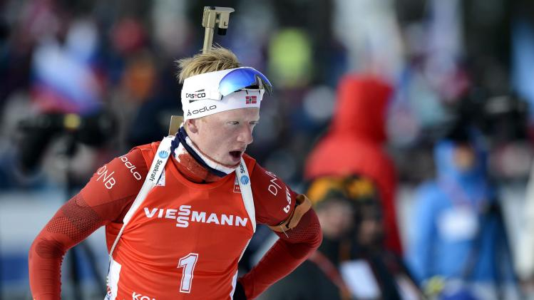 Norway's Johannes Thingnes Boe competes during the men's 12.5 km pursuit competition at the IBU World Cup Biathlon event in Kontiolahti
