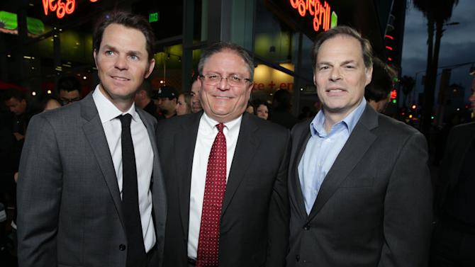 Open Road Films' Jason Cassidy, AMC CEO Gerry Lopez and Open Road Film's Tom Ortenberg at Open Road Films Los Angeles Premiere of 'The Host' held at the ArcLight Hollywood, on Tuesday, March, 19, 2013 in Los Angeles. (Photo by Eric Charbonneau/Invision for Open Road Films/AP Images)
