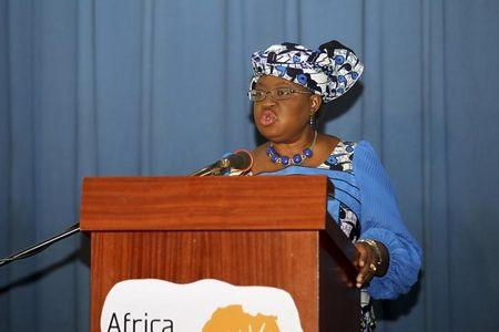 Nigeria's Minister of Finance Okonjo-Iweala speaks at the opening of the African health innovation meeting before WEFA in Abuja