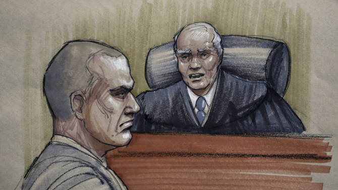 In this courtroom sketch, David Coleman Headley, 52, left, appears before U.S. District Judge Harry Leinenweber at federal court in Chicago, Thursday, Jan. 24, 2013, as Leinenweber imposes a sentence of 35 years in prison for the key role Headley played in a 2008 terrorist attack on Mumbai that has been called India's 9/11.  (AP Photo/Tom Gianni)