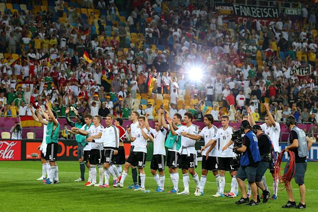 Germany Celebrate Victory And Qualifying For The Quater Finals Getty Images