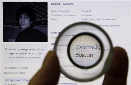Photograph of Dzhokhar Tsarnaev, suspect in Boston Marathon bombing, is seen on his page of Russian social networking site Vkontakte, as pictured on computer screen in St. Petersburg