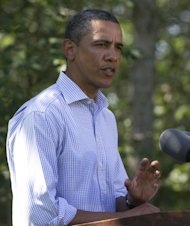 President Barack Obama speaks about Hurricane Irene in Chilmark, Mass. on Martha&#39;s Vineyard on Friday, Aug. 26, 2011. (AP Photo/Carolyn Kaster)