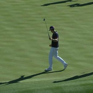 Camilo Villegas makes turn with birdie on No. 18 at Waste Management