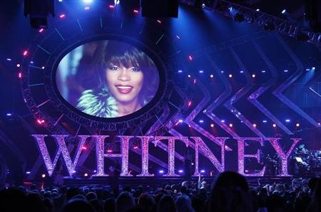 A video pays tribute to singer Whitney Houston during the VH1 Divas 2012 show in Los Angeles, December 16, 2012. REUTERS/Danny Moloshok