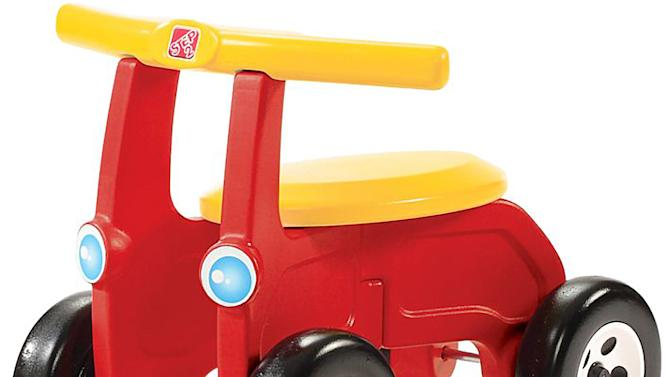 This photo provided by the U.S. Consumer Product Safety Commission shows the Children's Riding Toy, manufactured by The Step2 Company LLC, of Streetsboro, Ohio, that is being recalled because of a fall hazard where children who lean too far forward on the seat can go over the handle bar and hit the ground. (AP Photo/U.S. Consumer Product Safety Commission)