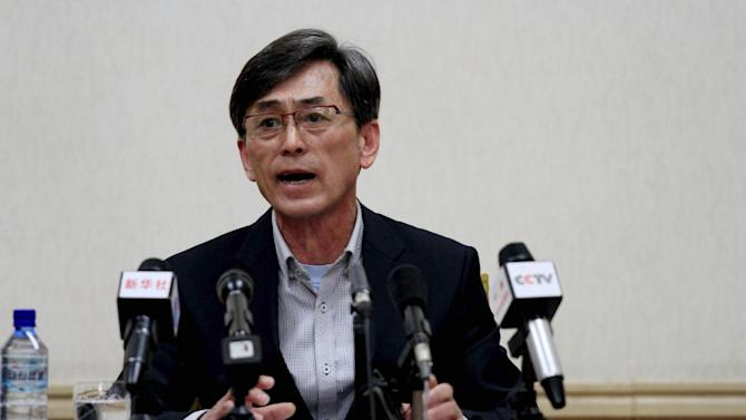In this Thursday, March 26, 2015 photo, Kim Kuk Gi, one of two South Korean men detained in North Korea on charges of spying, speaks in Pyongyang, North Korea. A South Korean government official confirmed Friday that the two are South Korean citizens but could not immediately explain how they entered the North and were detained. (AP Photo/Kim Kwang Hyon)