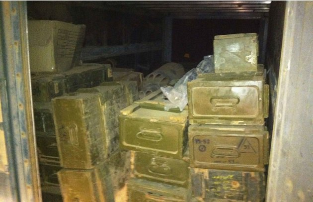 A container of weapons collected by Haroun, prominent rebel commander during 2011 uprising in Libya, from Benghazi residents and militias is being prepared for delivery to Syria at undisclosed locatio