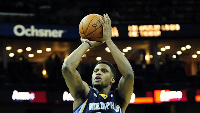 Memphis Grizzlies forward Rudy Gay (22) takes an open shot against the New Orleans Hornets duringthe first half of an NBA basketball game in New Orleans, Friday Dec 7, 2012. (AP Photo/Stacy Revere)