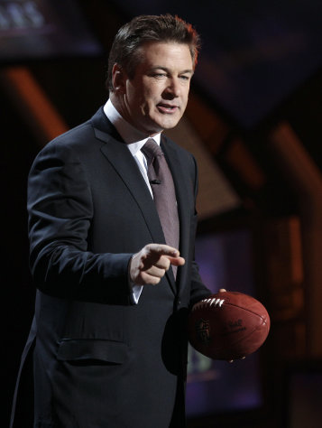 Host Alec Baldwin speaks during the inaugural NFL Honors show Saturday, Feb. 4, 2012, in Indianapolis.The New York Giants will face the New England Patriots in the NFL football&#39;s Super Bowl XLVI in Indianapolis on Feb. 5. (AP Photo/Charlie Riedel)