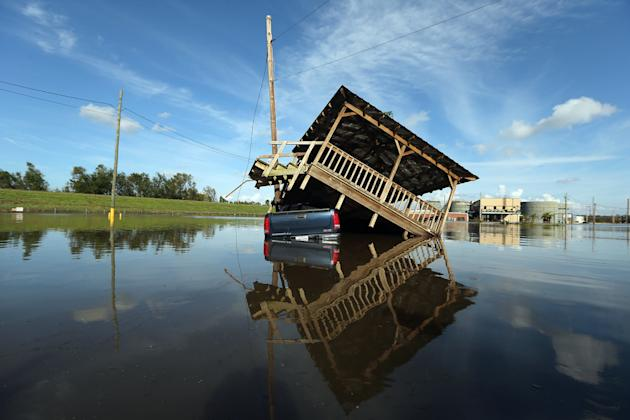 Hurricane Isaac made landfall on Aug. 28 near the mouth of the Mississippi River. (Mario Tama/Getty Images)
