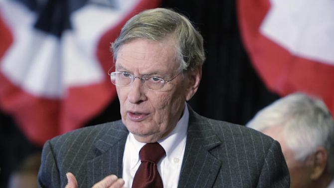 Major League Baseball commissioner Bud Selig speaks at a news conference, Wednesday, Jan. 23, 2013, at Great American Ballpark in Cincinnati, where he announced the Cincinnati Reds will host the 2015 All-Star game. (AP Photo/Al Behrman)