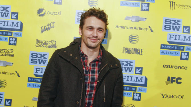 "James Franco arrives at the U.S. premiere of ""Spring Breakers"" at the SXSW Film Festival, on Sunday, March 10, 2013, in Austin, Texas. (Photo by Jack Plunkett/Invision/AP Images)"